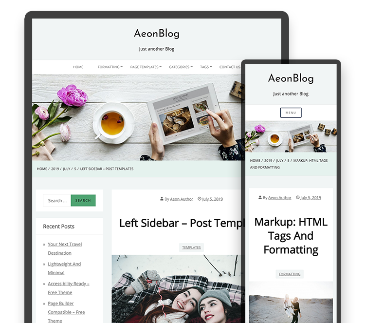 The responsive tablet and mobile design for the AeonBlog WordPress theme hides the sidebars depending on the width of the screen.
